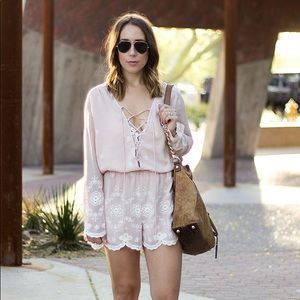 Pink & White Embroidered Romper